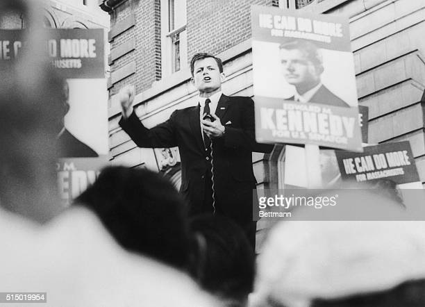 Edward M Kennedy addresses a crowd in front of SheratonKimbal Hotel Convention Headquarters at the conclusion of a motorcade through downtown...