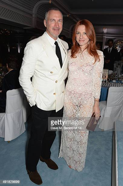 Edward Menicheschi and Jennifer Zuccarini attend the Vanity Fair And Armani Party at the 67th Annual Cannes Film Festival on May 17 2014 in Cap...