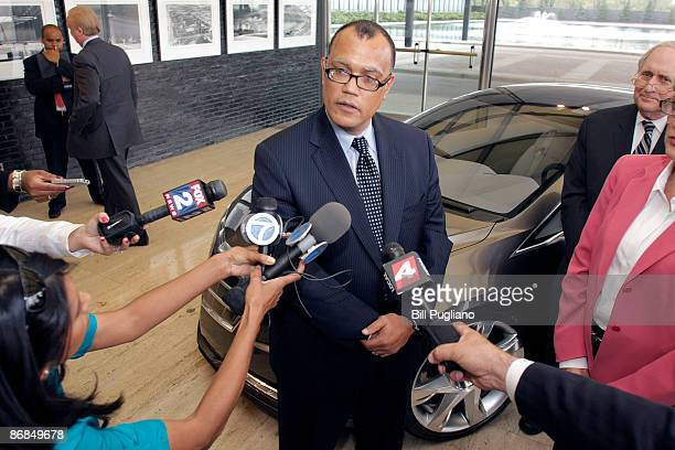 Edward Montgomery the White House Director of Recovery for Auto Communities and Workers answers questions from reporters while standing next to a...