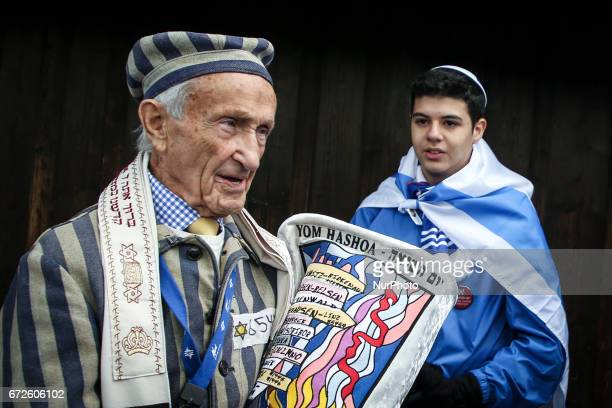 Edward Mosberg a Holocaust survivor during the 'March of the Living' at the former NaziGerman Auschwitz Birkenau concentration and extermination camp...