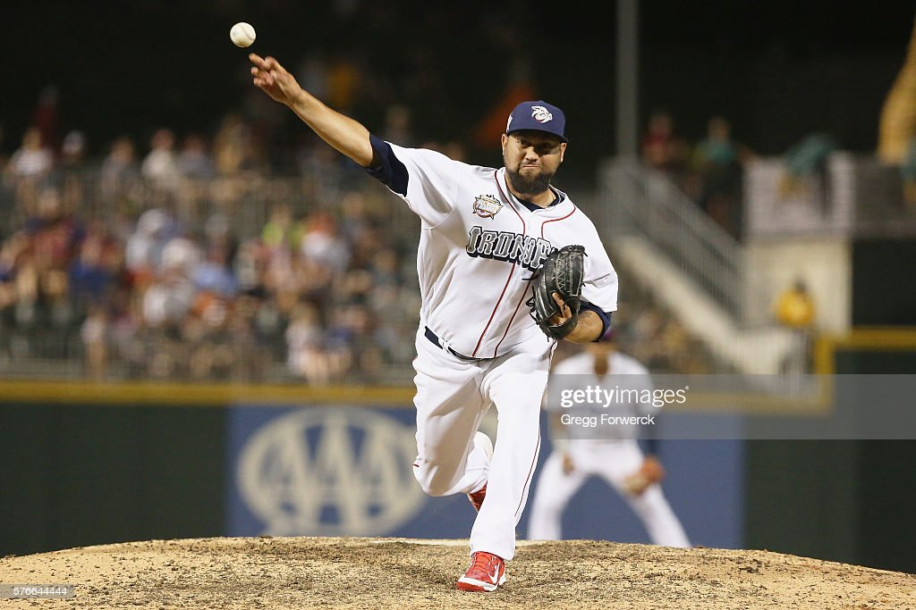 Edward Mujica is photographed during the Sonic Automotive TripleA Baseball All Star Game at BBT Ballpark on July 13 2016 in Charlotte North Carolina