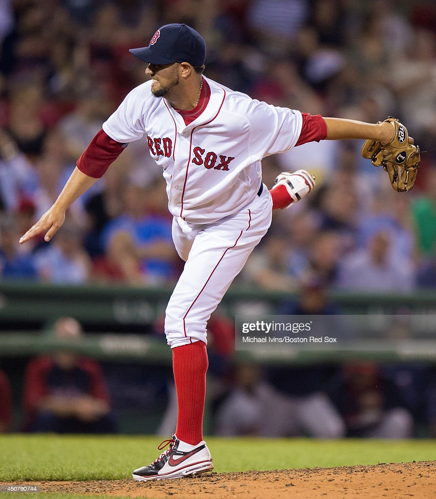 Edward Mujica of the Boston Red Sox pitches against the Minnesota Twins in the ninth inning at Fenway Park on June 17 2014 in Boston Massachusetts