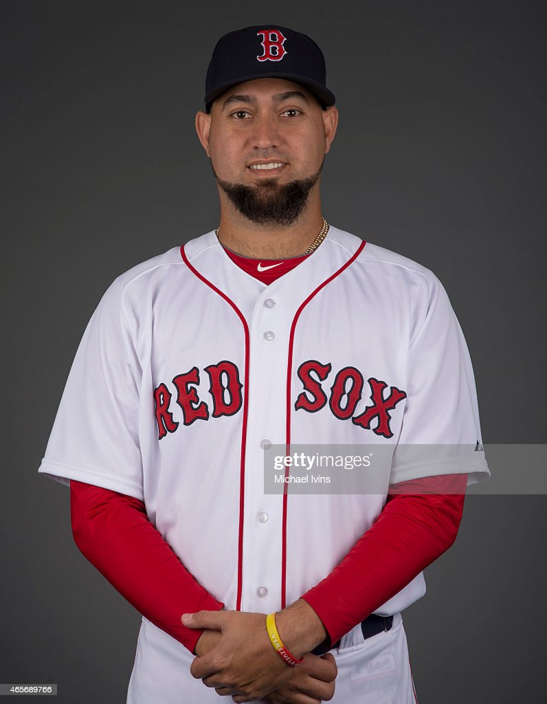 Edward Mujica of the Boston Red Sox poses during Photo Day on Sunday March 1 2015 at JetBlue Park in Fort Myers Florida