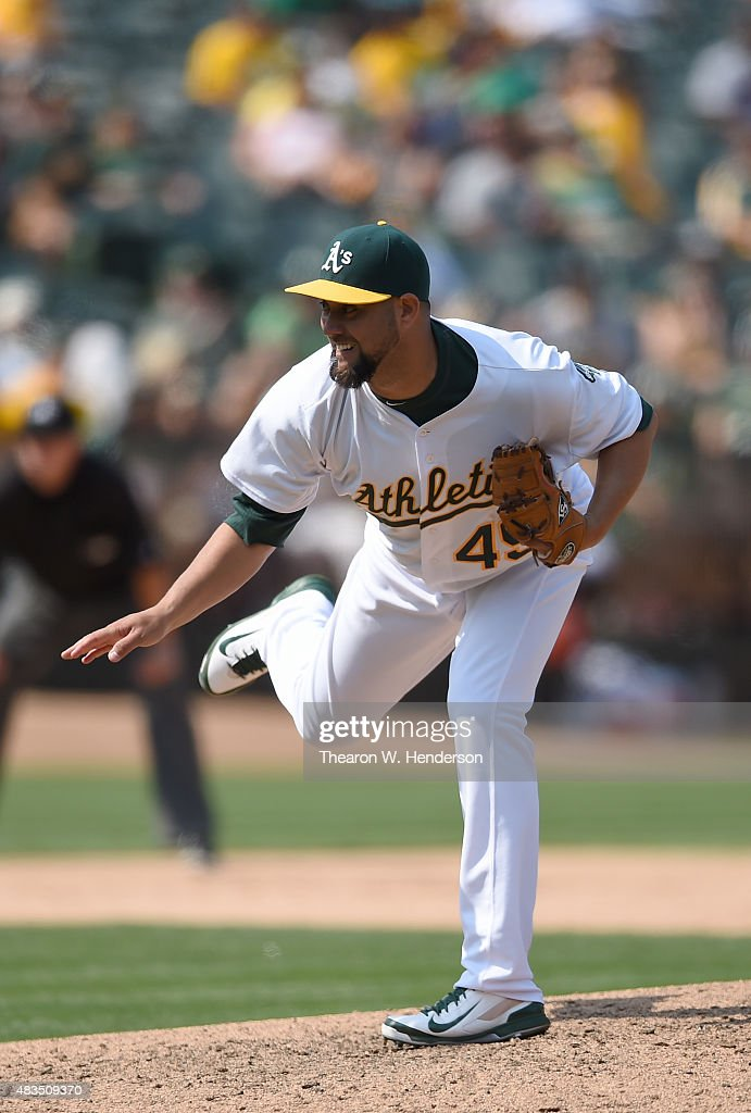 Edward Mujica of the Oakland Athletics pitches againsat the Houston Astros in the top of the ninth inning at Oco Coliseum on August 8 2015 in Oakland...