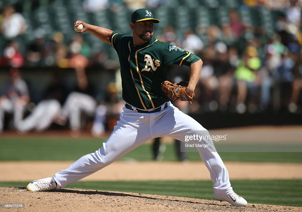 Edward Mujica of the Oakland Athletics pitches against the Baltimore Orioles during the game at Oco Coliseum on Wednesday August 5 2015 in Oakland...