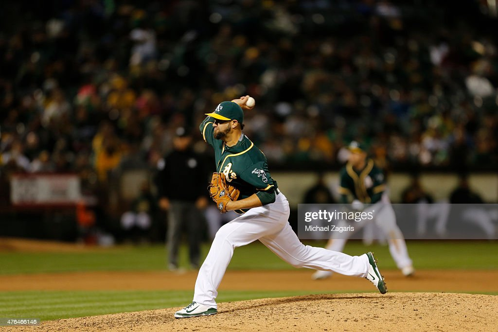 Edward Mujica of the Oakland Athletics pitches during the game against the Chicago White Sox at Oco Coliseum on May 16 2015 in Oakland California The...