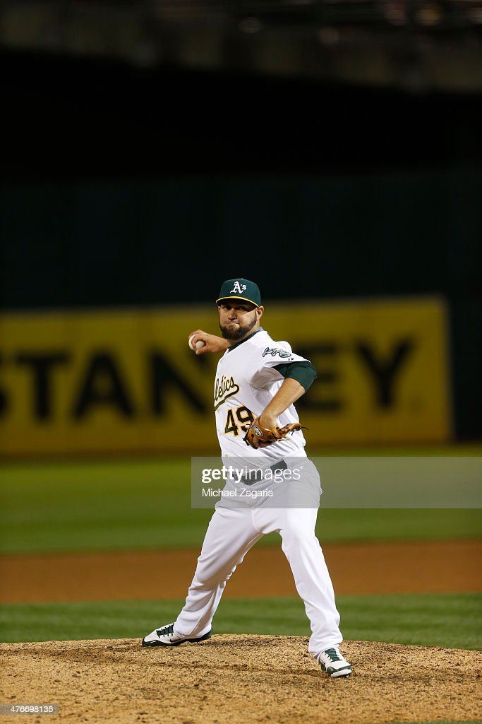 Edward Mujica of the Oakland Athletics pitches during the game against the Chicago White Sox at Oco Coliseum on May 15 2015 in Oakland California The...