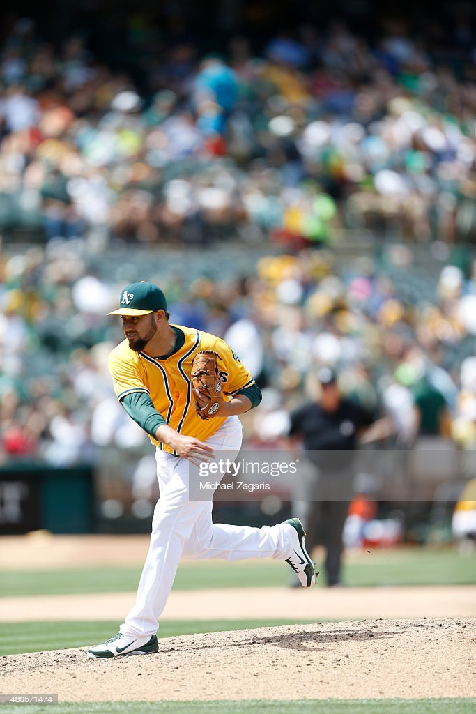Edward Mujica of the Oakland Athletics pitches during the game against the Kansas City Royals at Oco Coliseum on June 28 2015 in Oakland California...