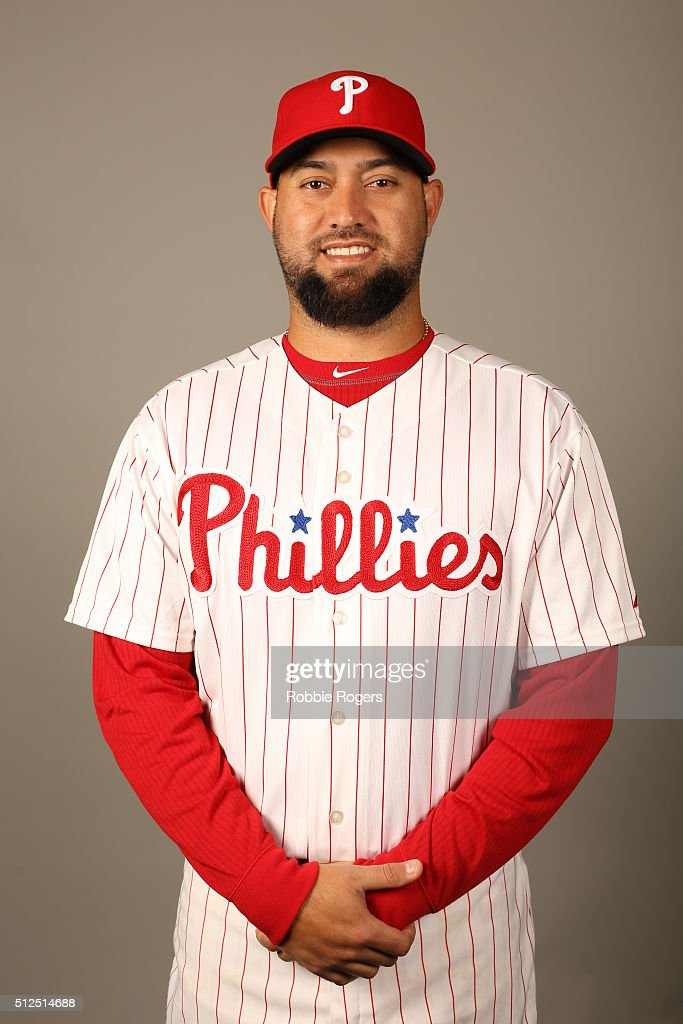 Edward Mujica of the Philadelphia Phillies poses during Photo Day on Friday February 26 2016 at Bright House Field in Clearwater Florida