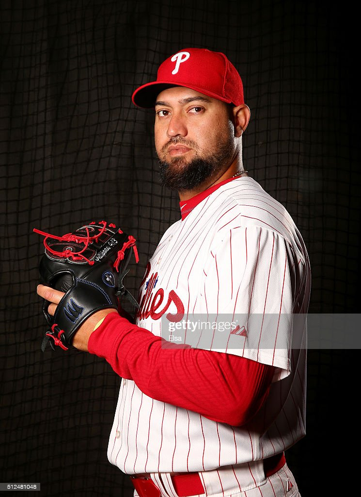 Edward Mujica of the Philadelphia Phillies poses for a portrait on February 26 2016 at Bright House Field in Clearwater Florida