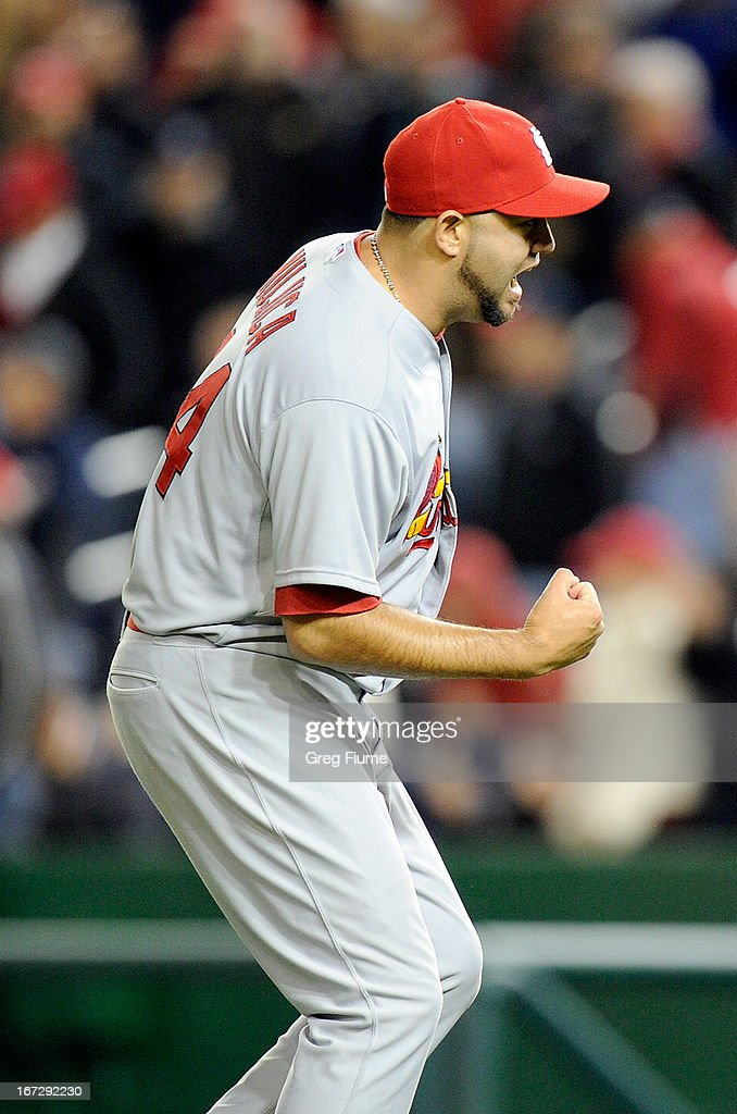 <a gi-track='captionPersonalityLinkClicked' href=/galleries/search?phrase=Edward+Mujica&family=editorial&specificpeople=836179 ng-click='$event.stopPropagation()'>Edward Mujica</a> #44 of the St. Louis Cardinals celebrates after a 2-0 victory against the Washington Nationals at Nationals Park on April 23, 2013 in Washington, DC.