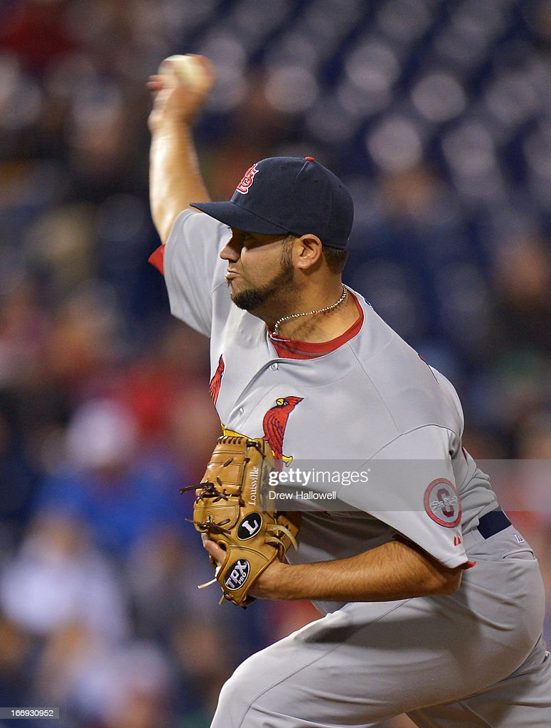 <a gi-track='captionPersonalityLinkClicked' href=/galleries/search?phrase=Edward+Mujica&family=editorial&specificpeople=836179 ng-click='$event.stopPropagation()'>Edward Mujica</a> #44 of the St. Louis Cardinals pitches in the bottom of the ninth inning against the Philadelphia Phillies at Citizens Bank Park on April 18, 2013 in Philadelphia, Pennsylvania. The Cardinals won 4-3.