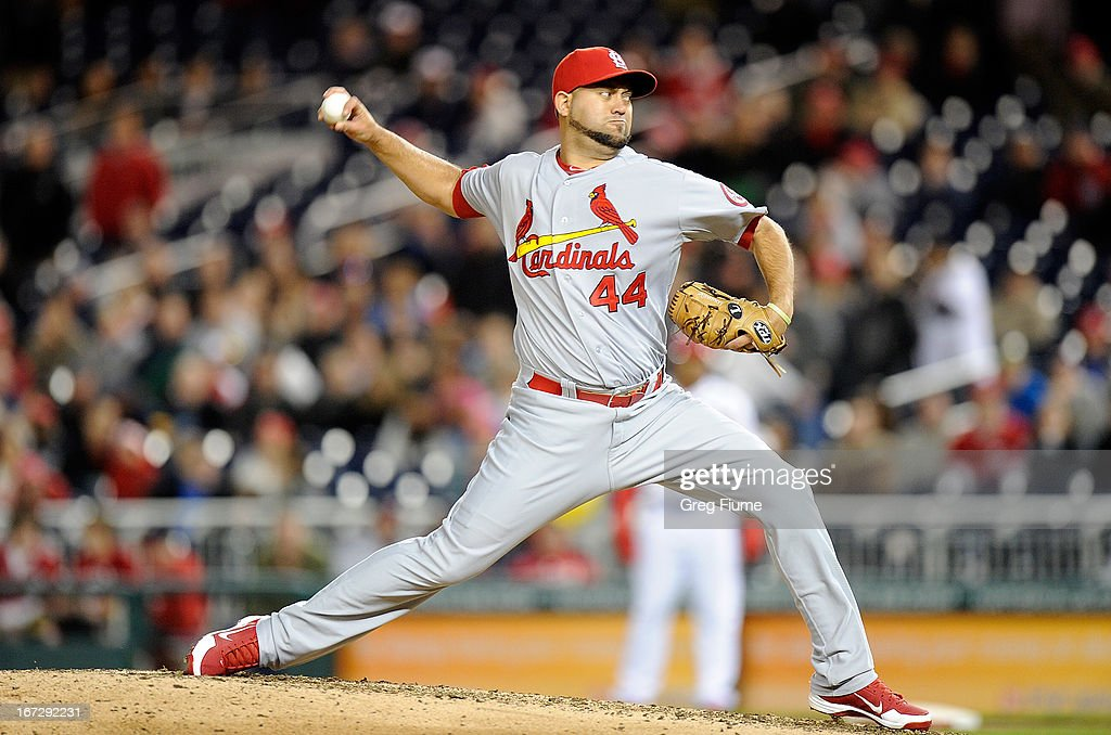 <a gi-track='captionPersonalityLinkClicked' href=/galleries/search?phrase=Edward+Mujica&family=editorial&specificpeople=836179 ng-click='$event.stopPropagation()'>Edward Mujica</a> #44 of the St. Louis Cardinals pitches in the ninth inning against the Washington Nationals at Nationals Park on April 23, 2013 in Washington, DC.