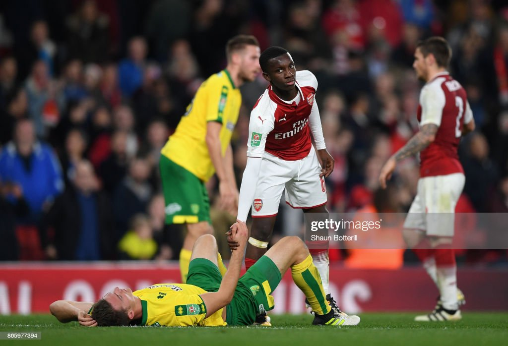Edward Nketiah goes to pick up Timm Klose of Norwich City after the Carabao Cup Fourth Round match between Arsenal and Norwich City at Emirates Stadium on October 24, 2017 in London, England.