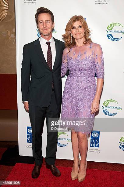 Edward Norton and Connie Britton attend the United Nations 2014 Equator Prize Gala at Avery Fisher Hall Lincoln Center on September 22 2014 in New...