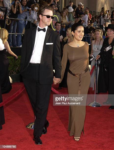 Edward Norton and Salma Hayek during 9th Annual Screen Actors Guild Awards Arrivals at Shrine Exposition Center in Los Angeles California United...