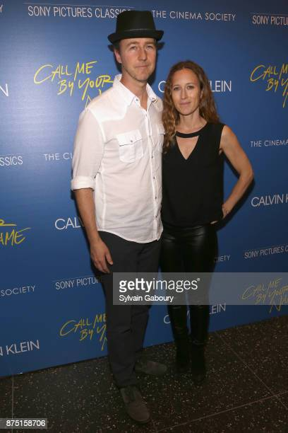 Edward Norton and Shauna Robertson attend Calvin Klein and The Cinema Society host a screening of Sony Pictures Classics' 'Call Me By Your Name' on...