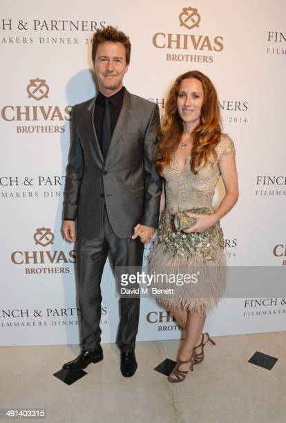 Edward Norton and Shauna Robertson attend the annual Charles Finch Filmmakers Dinner during the 67th Cannes Film Festival at Hotel du CapEdenRoc on...