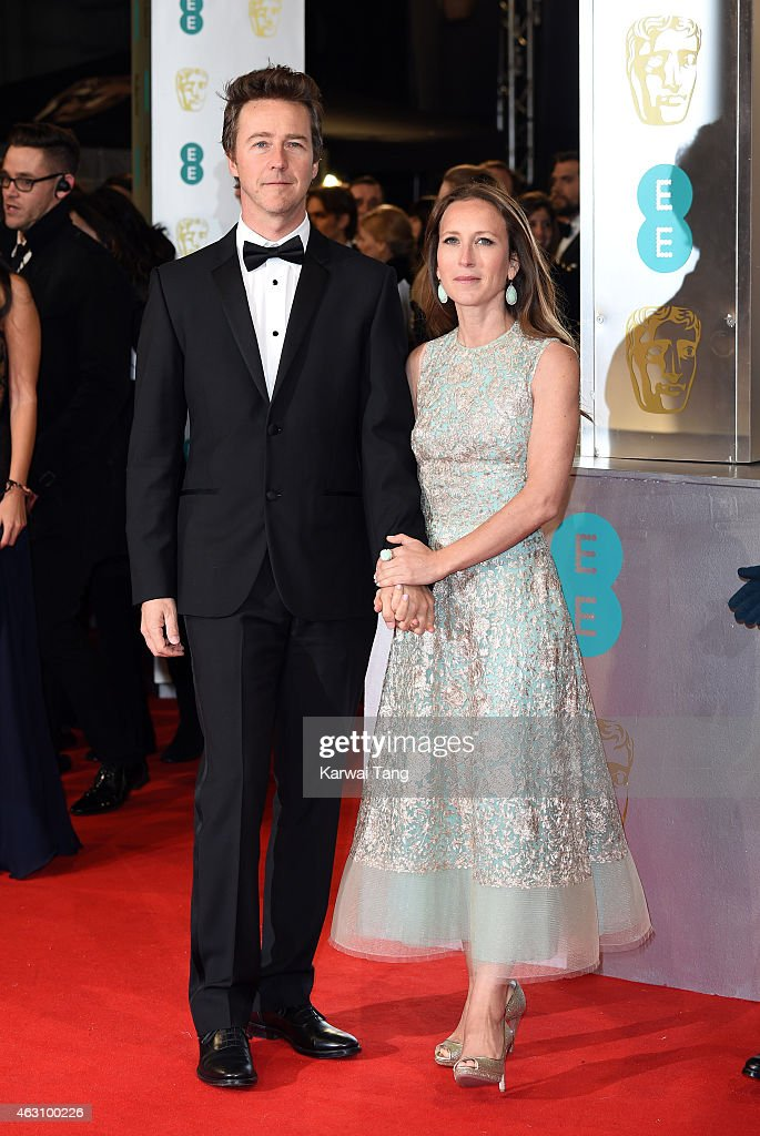 Edward Norton and Shauna Robertson attend the EE British Academy Film Awards at The Royal Opera House on February 8, 2015 in London, England.