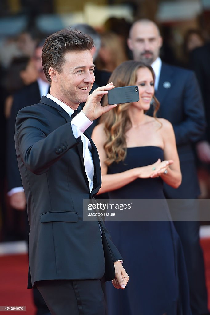 Edward Norton and Shauna Robertson attend the Opening Ceremony and 'Birdman' premiere during the 71st Venice Film Festival at Palazzo Del Cinema on August 27, 2014 in Venice, Italy.
