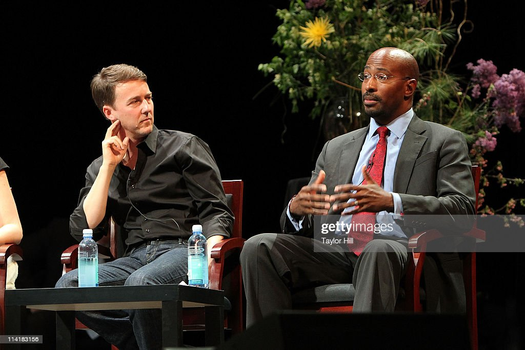 Edward Norton and Van Jones attend the Newark Peace Education Summit at New Jersey Performing Arts Center on May 14, 2011 in Newark, New Jersey.