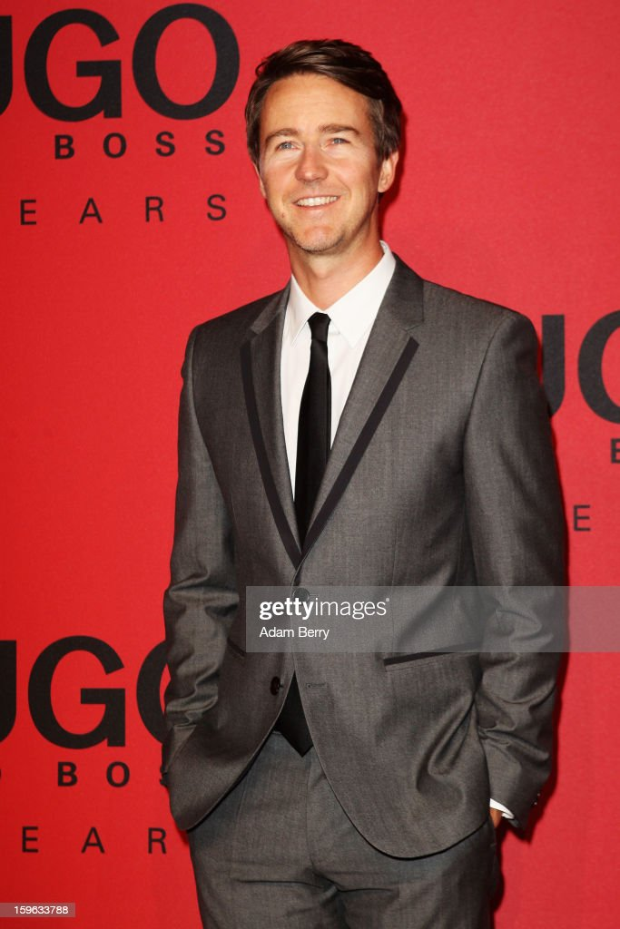 <a gi-track='captionPersonalityLinkClicked' href=/galleries/search?phrase=Edward+Norton&family=editorial&specificpeople=210580 ng-click='$event.stopPropagation()'>Edward Norton</a> attends Hugo By Hugo Boss Autumn/Winter 2013/14 fashion show during Mercedes-Benz Fashion Week Berlin at The Brandenburg Gate on January 17, 2013 in Berlin, Germany.