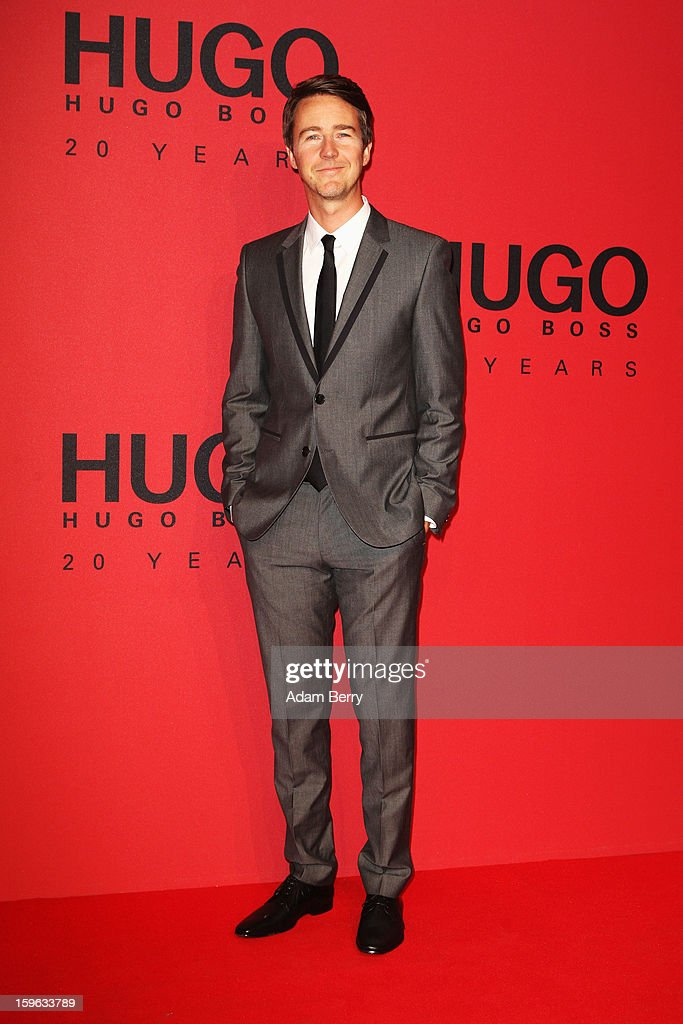 Edward Norton attends Hugo By Hugo Boss Autumn/Winter 2013/14 fashion show during Mercedes-Benz Fashion Week Berlin at The Brandenburg Gate on January 17, 2013 in Berlin, Germany.