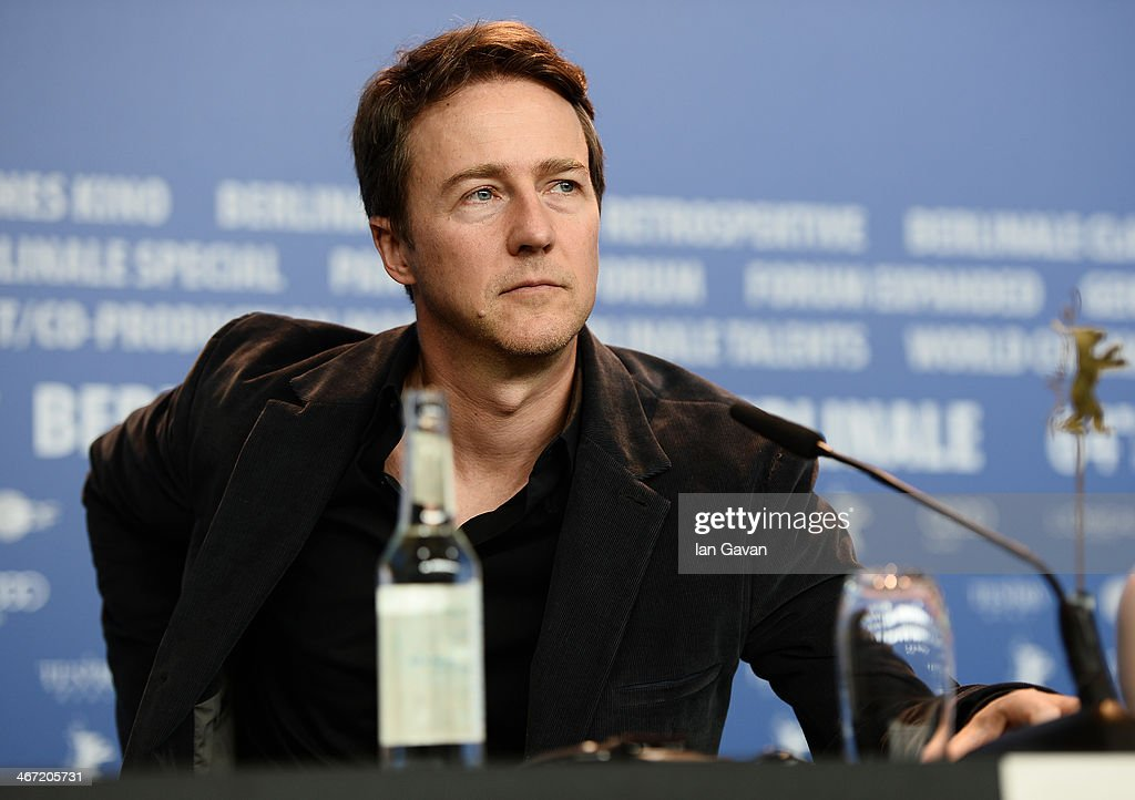 <a gi-track='captionPersonalityLinkClicked' href=/galleries/search?phrase=Edward+Norton&family=editorial&specificpeople=210580 ng-click='$event.stopPropagation()'>Edward Norton</a> attends 'The Grand Budapest Hotel' press conference during 64th Berlinale International Film Festival at Grand Hyatt Hotel on February 6, 2014 in Berlin, Germany.