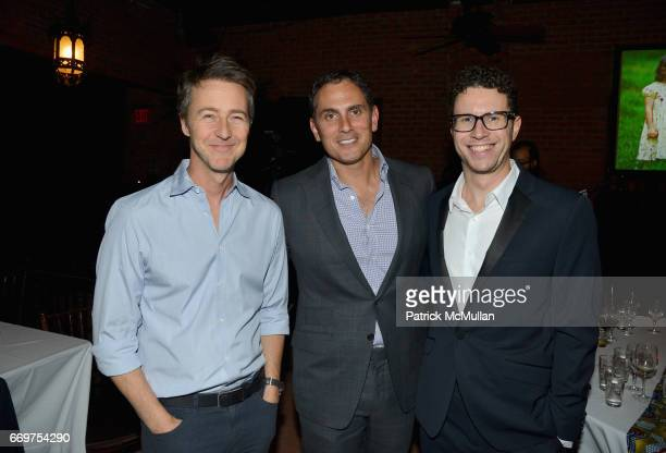 Edward Norton Brian Sheth and Daniel Nadler attend The Turtle Conservancy's 4th Annual Turtle Ball at The Bowery Hotel on April 17 2017 in New York...