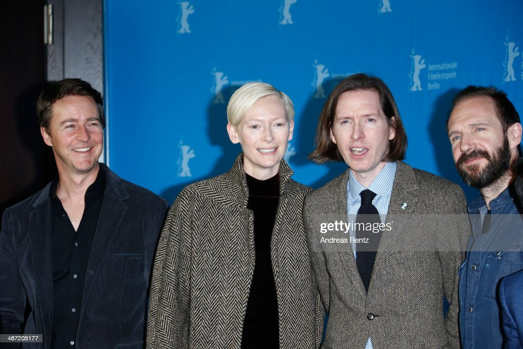 <a gi-track='captionPersonalityLinkClicked' href=/galleries/search?phrase=Edward+Norton&family=editorial&specificpeople=210580 ng-click='$event.stopPropagation()'>Edward Norton</a>, <a gi-track='captionPersonalityLinkClicked' href=/galleries/search?phrase=Tilda+Swinton&family=editorial&specificpeople=202991 ng-click='$event.stopPropagation()'>Tilda Swinton</a>, <a gi-track='captionPersonalityLinkClicked' href=/galleries/search?phrase=Wes+Anderson&family=editorial&specificpeople=217728 ng-click='$event.stopPropagation()'>Wes Anderson</a> and <a gi-track='captionPersonalityLinkClicked' href=/galleries/search?phrase=Ralph+Fiennes&family=editorial&specificpeople=206461 ng-click='$event.stopPropagation()'>Ralph Fiennes</a> attend 'The Grand Budapest Hotel' photocall during 64th Berlinale International Film Festival at Grand Hyatt Hotel on February 6, 2014 in Berlin, Germany.
