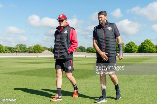 Edward Nuttall and Andrew Ellis of Canterbury look on prior to the Plunket Shield match between Canterbury and the Otago Volts on October 24 2017 in...