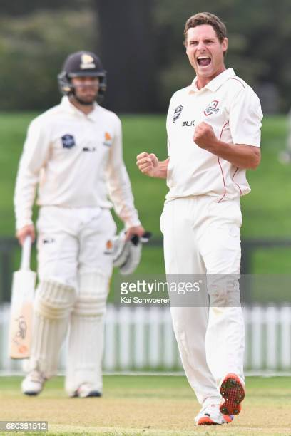 Edward Nuttall of Canterbury celebrates after dismissing Luke Ronchi of Wellington during the Plunket Shield match between Canterbury and Wellington...
