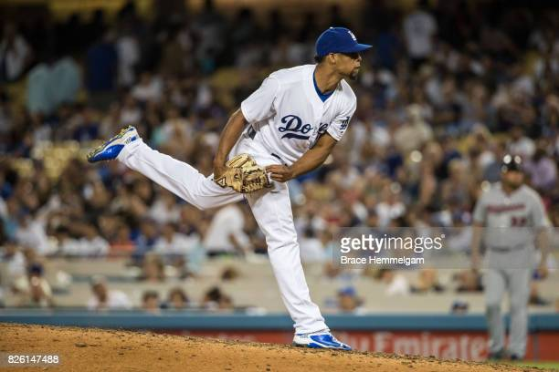 Edward Paredes of the Los Angeles Dodgers pitches against the Minnesota Twins on July 24 2017 at Dodger Stadium in Los Angeles California The Dodgers...