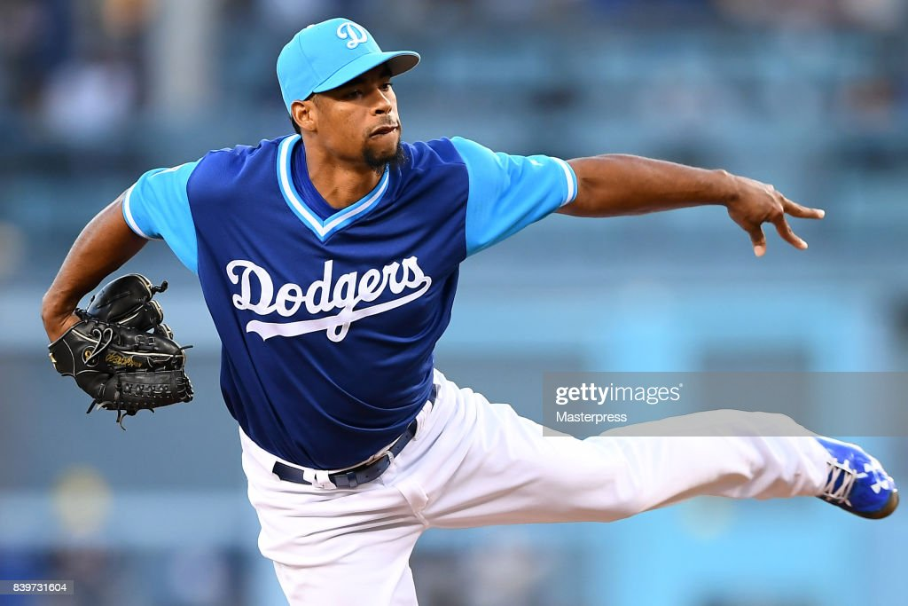 Edward Paredes #58 of the Los Angeles Dodgers pitches during the game against the Milwaukee Brewers at Dodger Stadium on August 26, 2017 in Los Angeles, California.