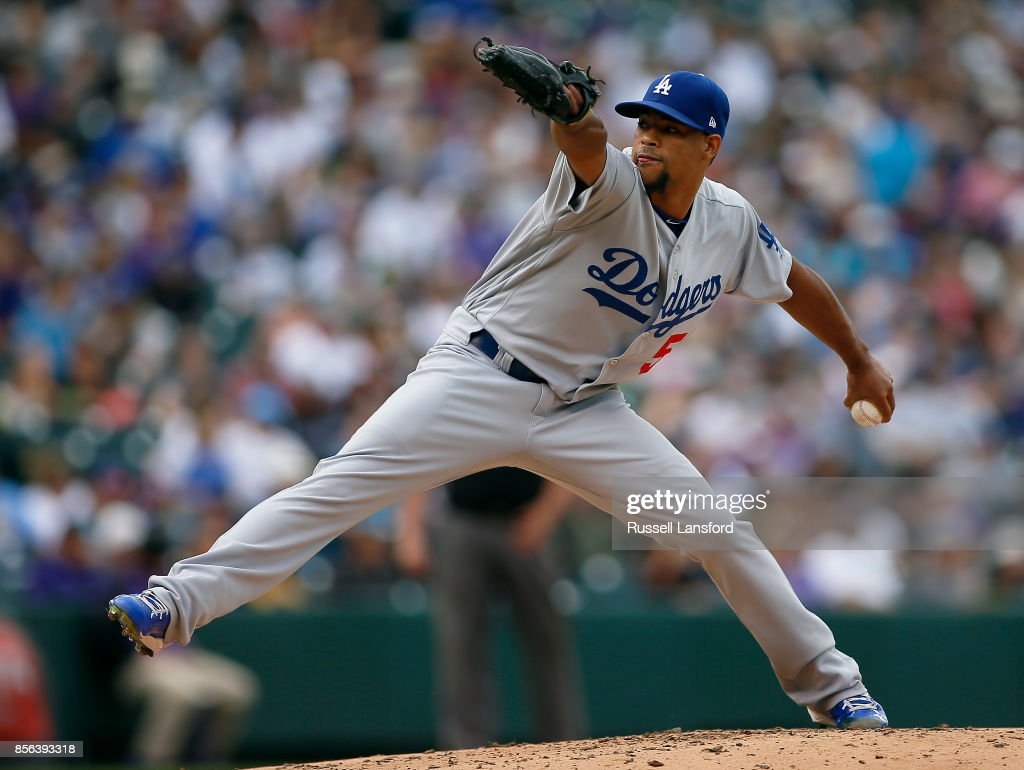 Edward Paredes #58 of the Los Angeles Dodgers pitches during the third inning of a regular season MLB game between the Colorado Rockies and the visiting Los Angeles Dodgers at Coors Field on October 1, 2017 in Denver, Colorado.