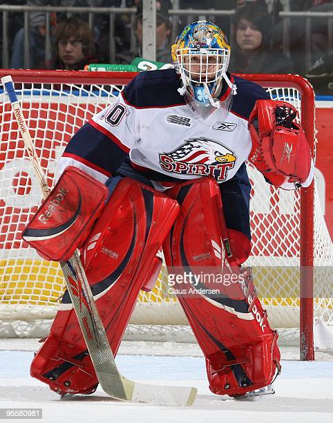 Edward Pasquale of the Saginaw Spirit watches the play in a game against the London Knights on January 3 2010 at the John Labatt Centre in London...