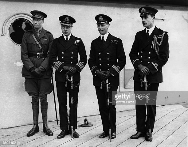 Edward Prince of Wales on board ship prior to his departure for a tour of Australia with his two brothers Henry Duke of Gloucester and George Duke of...