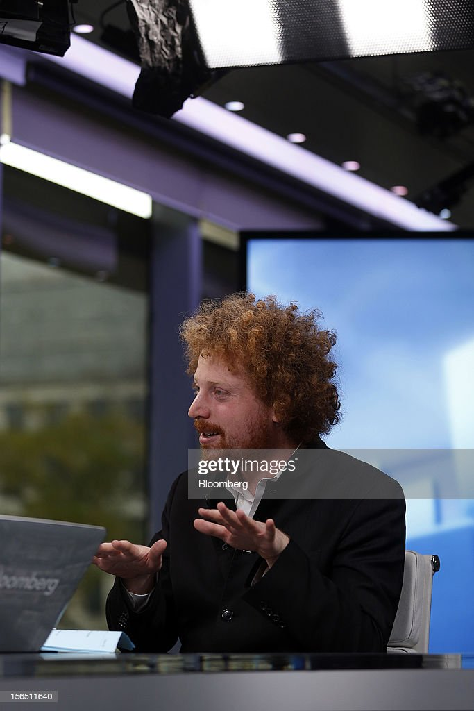 Edward Saatchi, chief executive officer of NationalField, gestures during a Bloomberg Television interview in London, U.K., on Friday, Nov. 16, 2012. NationalField is a startup tech company and following on its successful 2008 Obama campaign work, the company has returned to collaborate with the administration's 2012 efforts. Photographer: Simon Dawson/Bloomberg via Getty Images