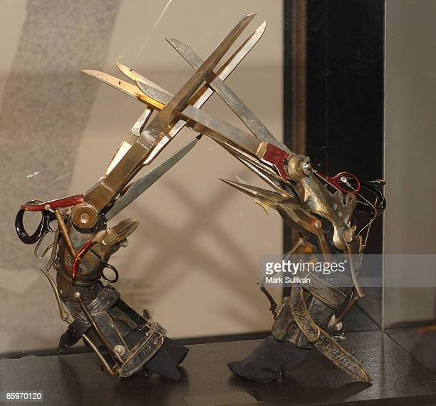 Edward Scissorhands item on display at the press preview for Michael Jackson's Julien's Auctions Exhibit on April 13 2009 in Beverly Hills California