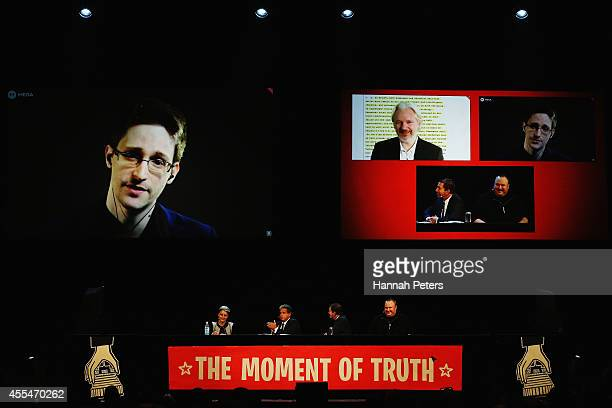 Edward Snowden Julian Assange Internet Party leader Laila Harre Robert Amsterdam Glenn Greenwald and Kim Dotcom discuss the revelations about New...