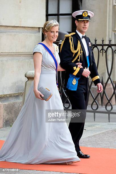 Edward The Earl of Wessex and Sophie Countess of Wessex arrive at The Royal Chapel at The Royal Palace in Stockholm for The Wedding of Prince Carl...