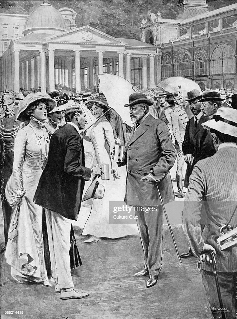 Edward VII at the springs in Marienbad 1909 taking the cure From drawing by F Matania of the period Mariánské Lázn modern day Czech RepublicEVIIKing...