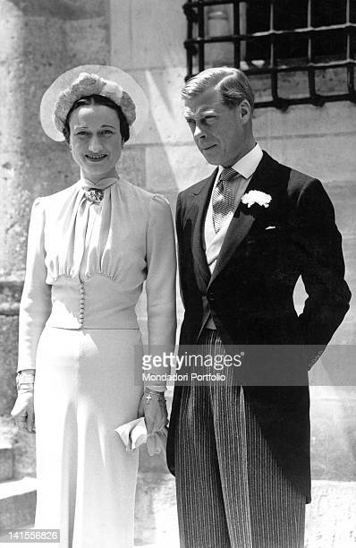 Edward VIII and Wallis Simpson posing at the Castle of Conde on their wedding day Monts 3rd June 1937
