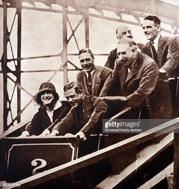Edward VIII enjoys a fairground ride together with his sister in law Elizabeth and his brother Albert