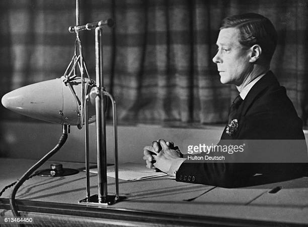 Edward VIII of England gives a radio broadcast on behalf of the King George Jubilee Trust during his short reign as King of England