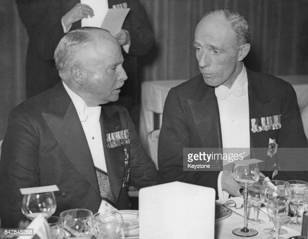 Edward Wood 1st Earl of Halifax talking to Charles Edward Duke of SaxeCoburg and Gotha during an AngloGerman dinner at Grosvenor House London 2nd...