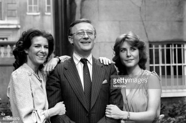 Edward Woodward actor with Hilary Tindall and Amanda Kemp during photocall to promote new BBC sitcom they will be starring in called 'Nice Work'...