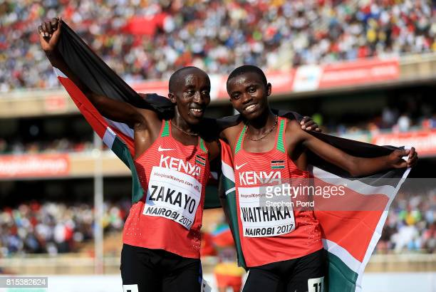 Edward Zakayo and Stanley Mburu Waithaka of Kenya celebrate after winning silver and bronze in the final of the boys 3000m on day five of the IAAF...