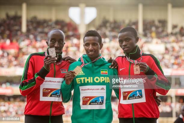 Edward Zakayo of Kenya Selemon Berega of Ethiopia and Stanley Mburu Waithaka of Kenya pose in the boys 3000m medal ceremony during day 5 of the IAAF...