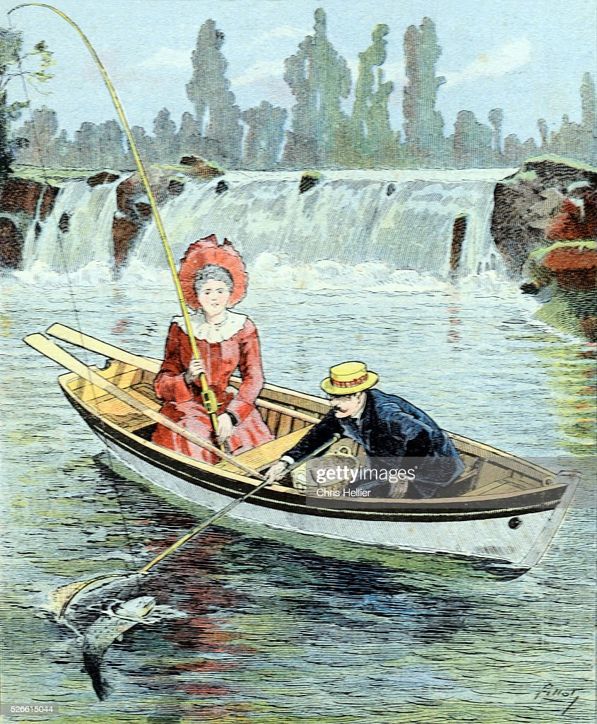 Edwardian couple salmon fishing in rowing boat river for Best river fishing boat